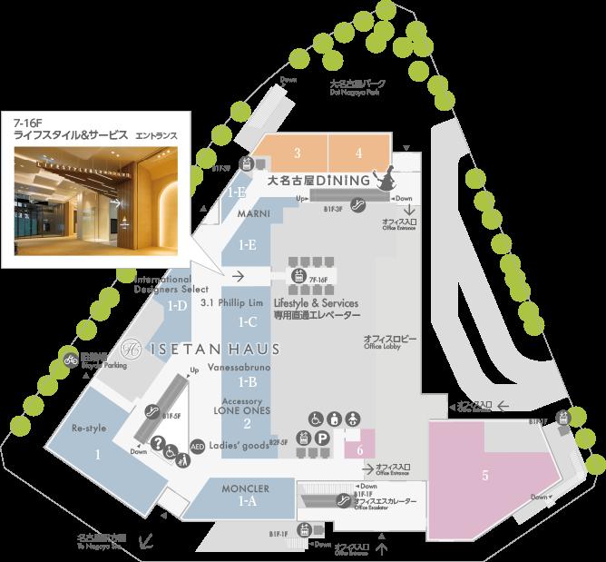 大名古屋ビルヂング1Fフロアマップ