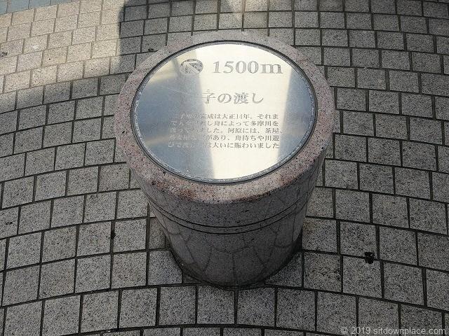 武蔵溝ノ口円筒広場の石材スツールと観光案内