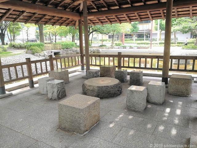 下園公園の東屋のテーブル