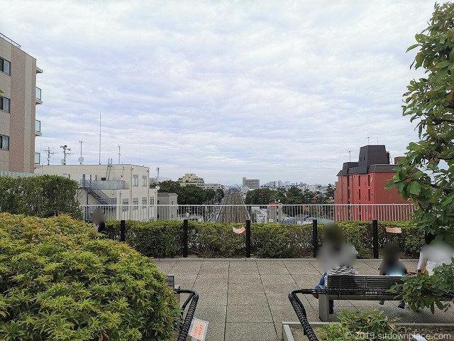 成城コルティ4F屋上庭園雑木林の丘のベンチとテラス