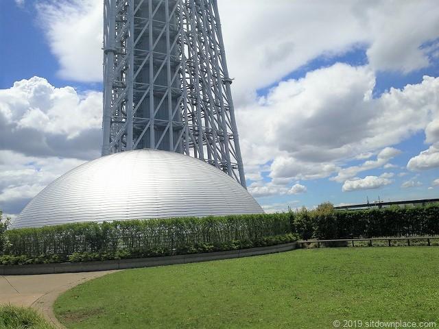 ソラマチ8Fプラネタリウムドーム上部と芝生の景観