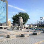 【富山駅】くすりやさん像・平和群像広場の休憩場所