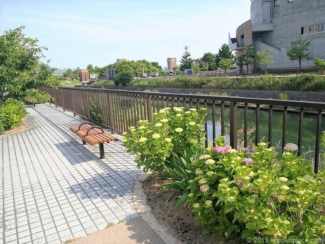 いたち川の花壇とベンチ