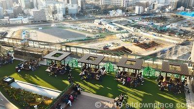 大阪ステーションシティノースビル風の広場の座れる休憩場所全体図