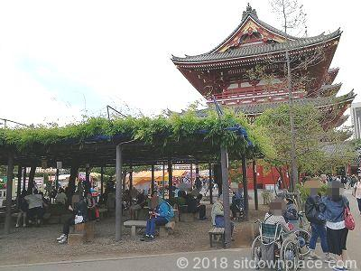 浅草寺東側公衆トイレ前の座れる休憩場所