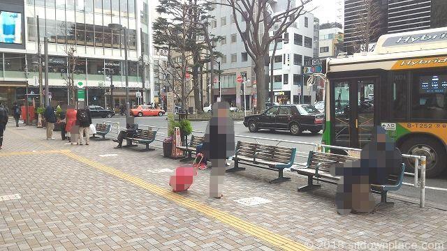 恵比寿駅ロータリー前の座れる休憩場所
