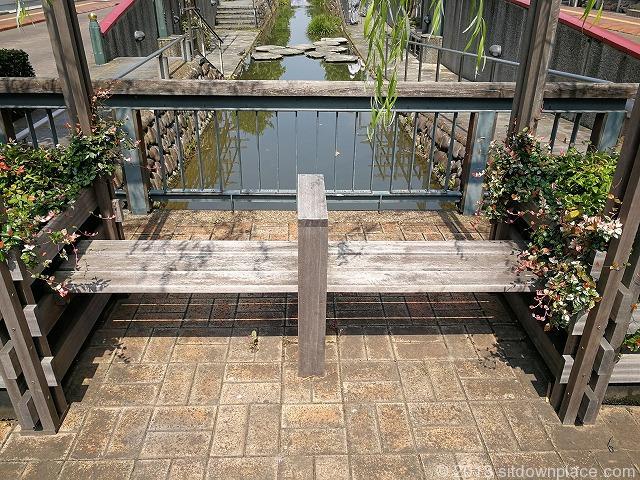 星川通りの岸にあるベンチの詳細