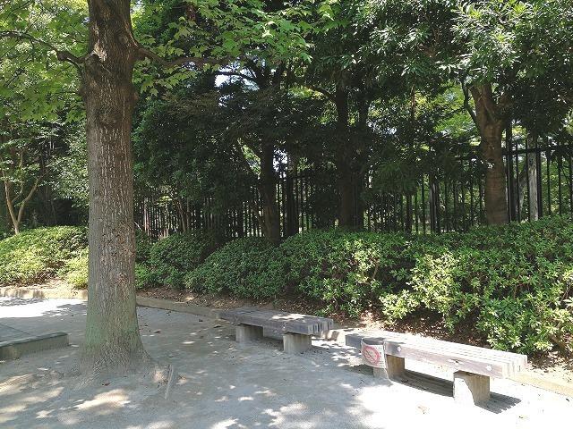 殿ヶ谷庭園開放公園の木陰のベンチ