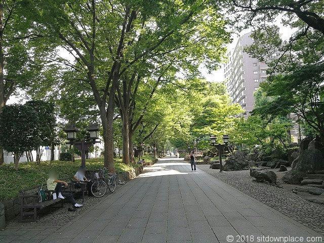 氷川参道の新都心側の景観