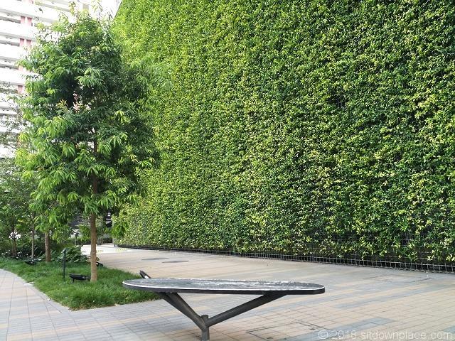 大宮JPビル前の木製ベンチ