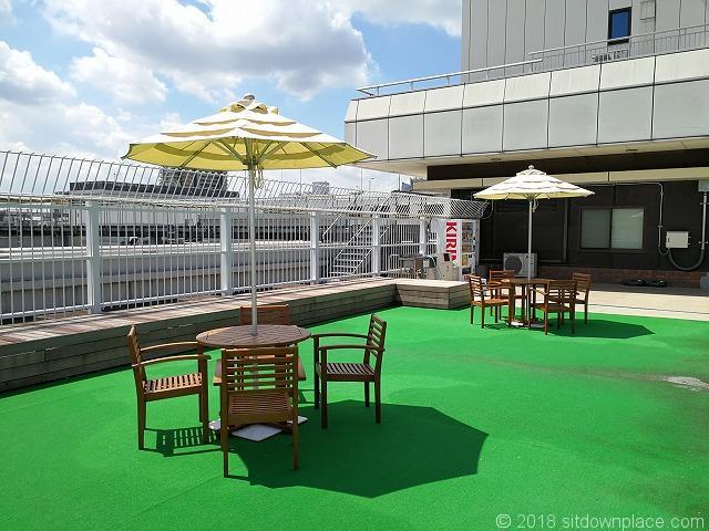 ルミネ大宮2の4F屋上庭園のパラソル付テーブル席その2