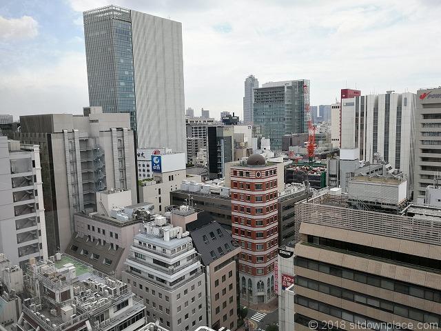 銀座シックス屋上庭園から見える歌舞伎座タワーと銀座伊藤ビルの景観