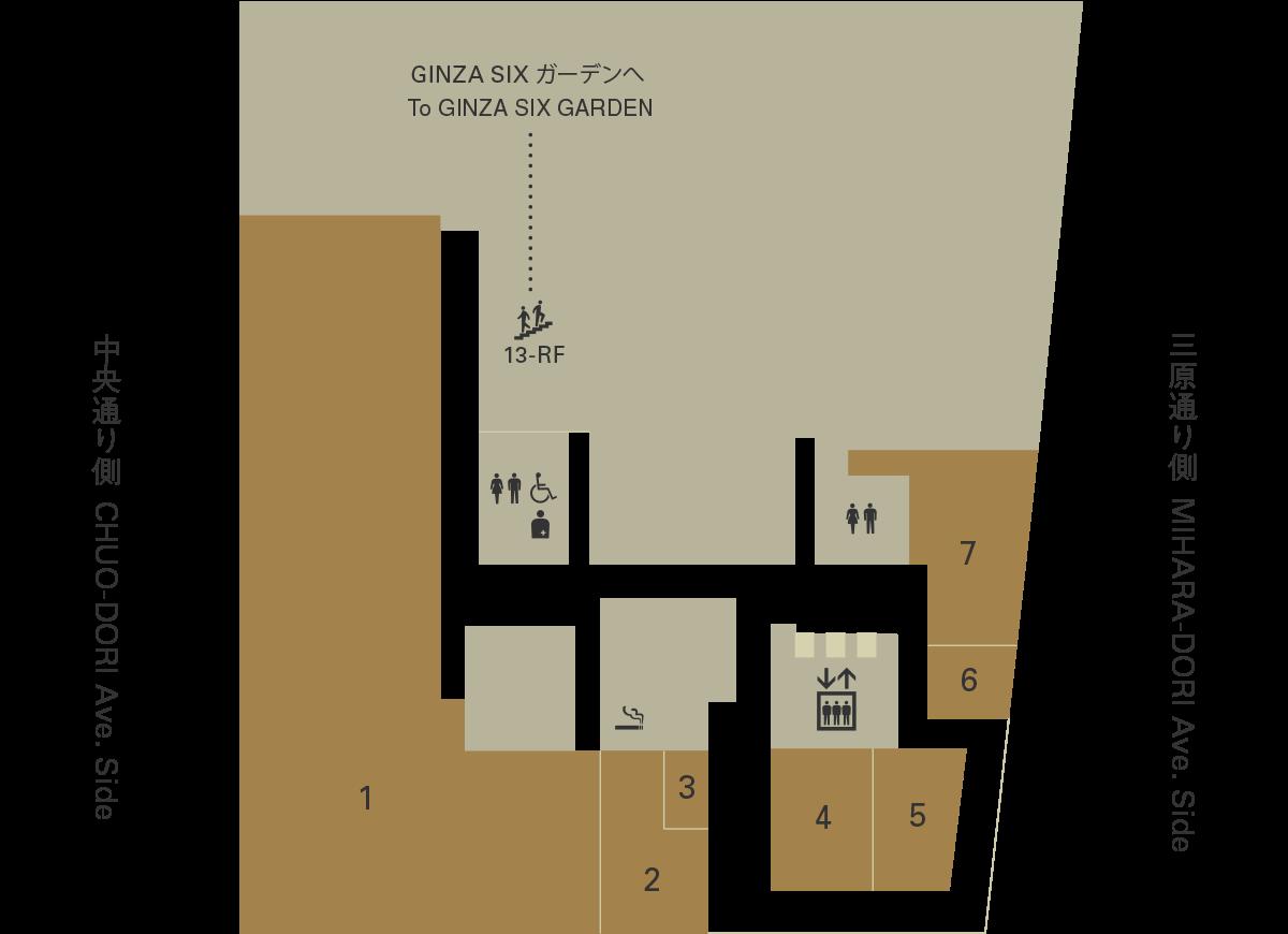 銀座シックス13Fフロアマップ
