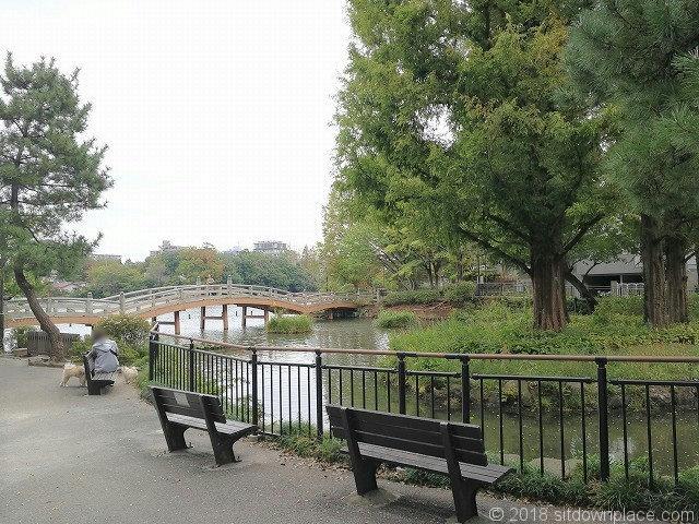 洗足池の池月橋付近のベンチ