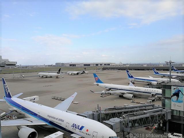 羽田空港国際線の展望デッキから見える機体