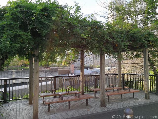 目黒川田楽橋付近の休憩所