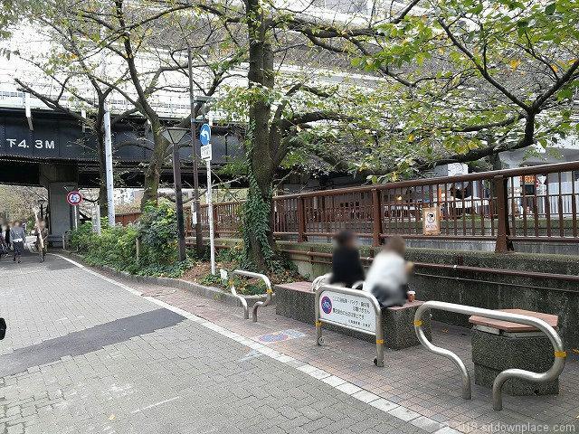 目黒川ガード下付近のベンチ