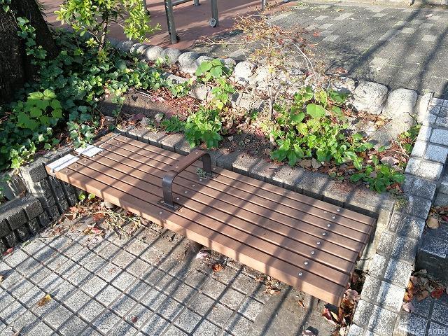 目黒川船入場正面のベンチ
