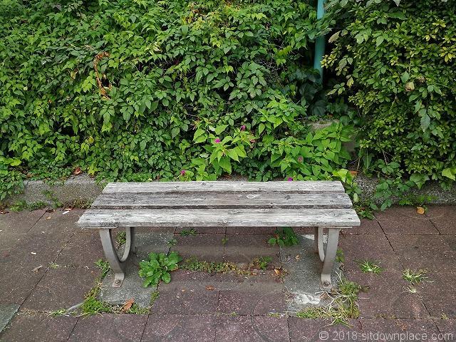 中目黒の蛇崩川緑道のベンチ