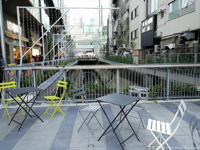 渋谷ストリーム1F金王橋広場の渋谷川が見えるテーブル席
