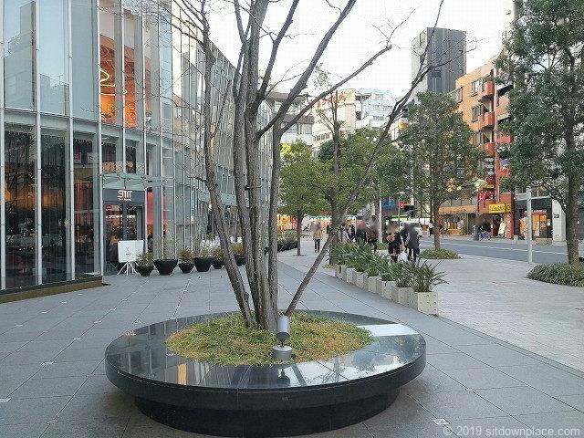 赤坂Bizタワー前一ツ木通り側のベンチと景観