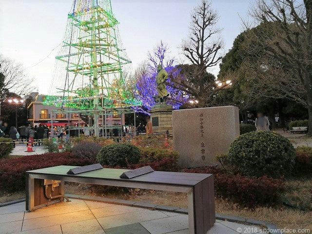 上野恩賜公園西郷隆盛の像付近のベンチからの景観