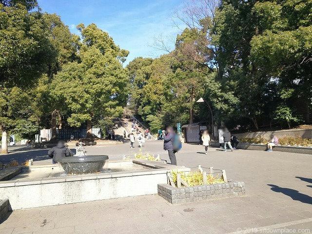 上野恩賜公園カエルの噴水広場付近