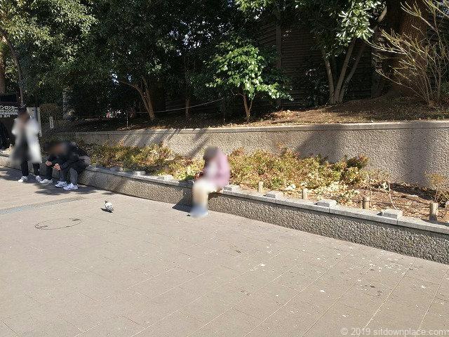 上野恩賜公園カエルの噴水広場付近のベンチ