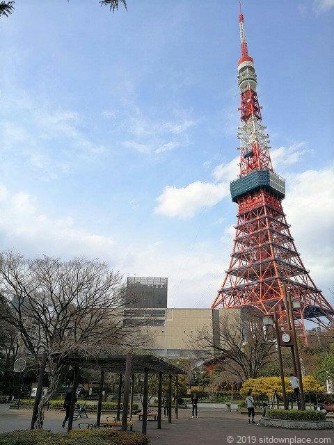 芝公園18号地の東京タワーの景観