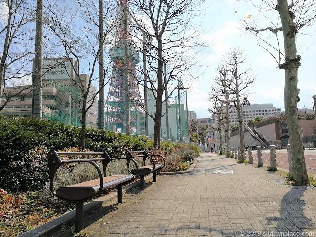芝中学校・芝高校グランド横から東京タワーの景観