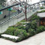 【京橋駅】東京スクエアガーデン 地下駅前広場の休憩場所