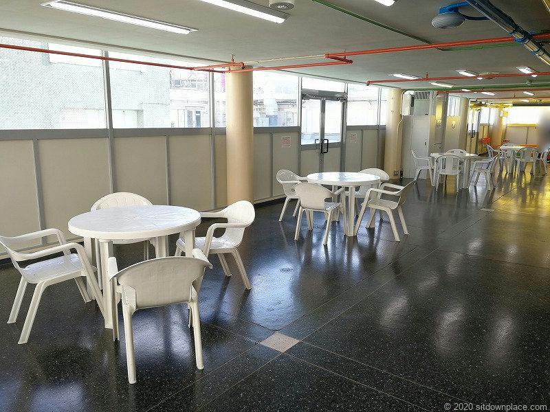 栄駅三越8Fオリエンタルビル屋上の室内休憩所