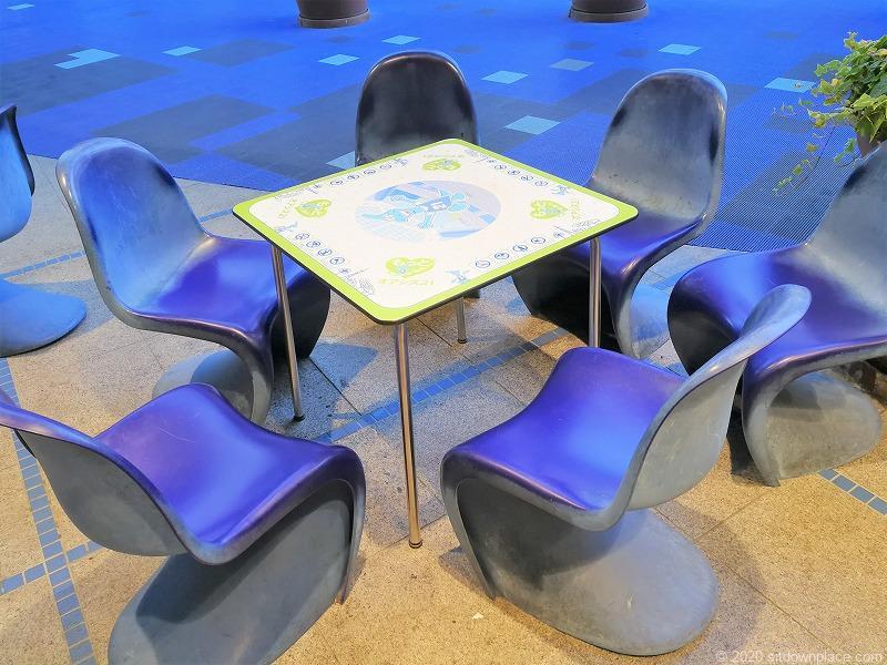 栄駅オアシス21銀河の広場の外のイスとテーブル