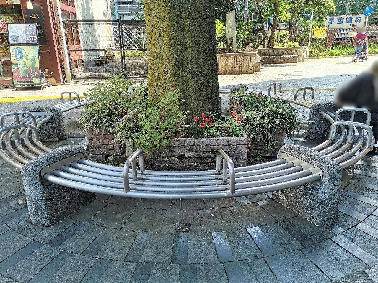 武蔵小杉駅 北口ロータリー前の円形ベンチ