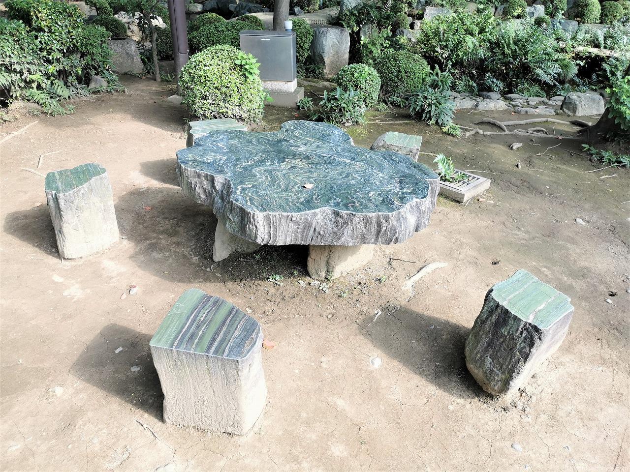 武蔵小杉駅 西明寺 鏡の池前の石材テーブルとスツール