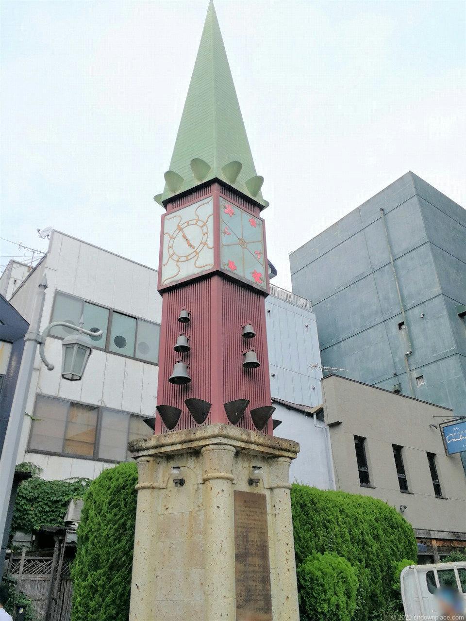 釜川プロムナード オリオン通り付近の大きい時計