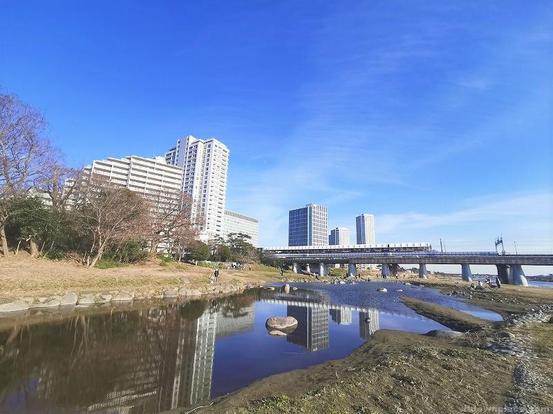 二子玉川駅兵庫島公園 ひょうたん池側の休憩場所その1