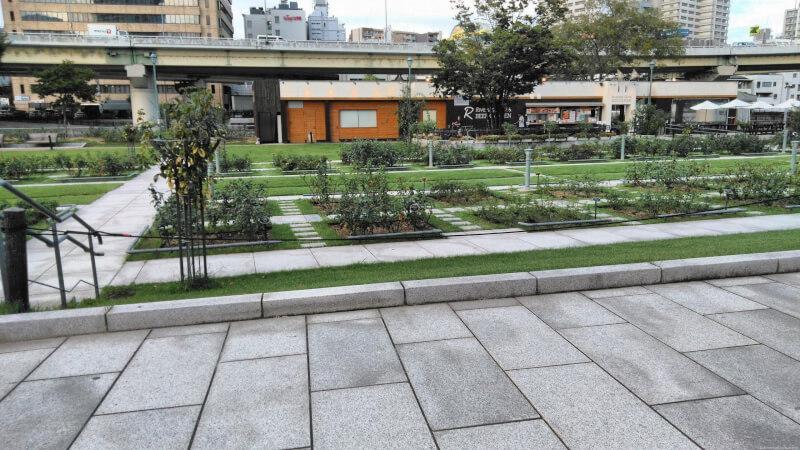 【北浜駅】中之島公園 バラ園の休憩場所2